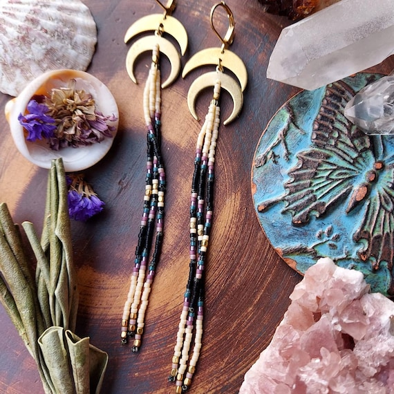 Moon Raven Fringe Earrings. Ivory, Black, Lilac, Teal, Brass, Lightweight, Artisan Seed Bead Earrings