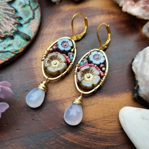Chalcedony Beaded Blooms Earrings. Lightweight, Czech Glass Beads, Flowers, Colorful, Gold, Limited Edition Artisan Earrings