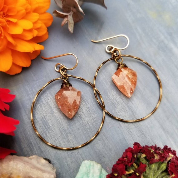 Kinetic Sunstone Earrings. Deluxe Gemstones, Hoops, Brass, Lightweight, Boho Artisan Earrings