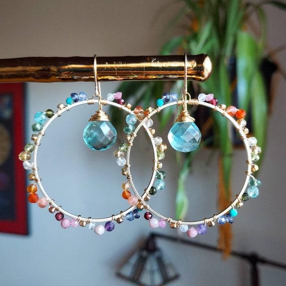 Fluorite Deluxe Rainbow Gemstone Hoop Earrings. Tanzanite, Garnet, Carnelian, Amethyst, Gold, Gorgeous Gemstones, Limited Edition Earrings