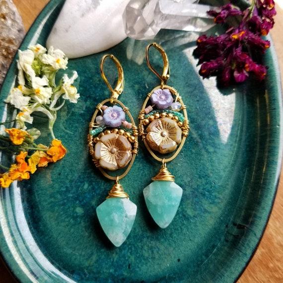 Amazonite Beaded Blooms Earrings. Lightweight, Czech Glass Beads, Flowers, Colorful, Gold, OOAK Artisan Earrings