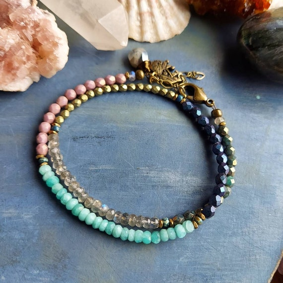 Beaded Wrap Bracelet. Luxe Gemstones, Amazonite, Labradorite, Silverite, Czech Glass, Double Wrap Bracelet