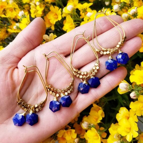 Lapis Lazuli Hexagon Earrings. Goldfilled, Luxury Gemstones, Limited Edition Artisan Hoop Earrings
