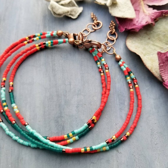 Spirit Double Strand Boho Bracelet, COPPER, Colorful, Delica Seed Beads, Limited Edition Stacking Bracelet
