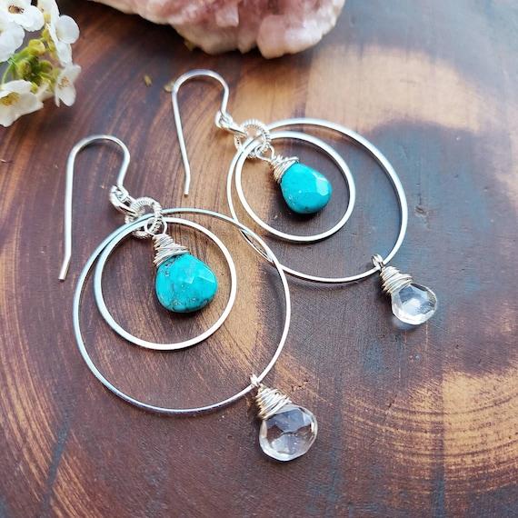 Kinetic Turquoise Magnesite and White Topaz Earrings. Deluxe Gemstones, Hoops, Silver, Lightweight, Boho Artisan Earrings