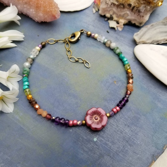 Mixed Gemstone and Glass Hibiscus Flower Bracelet. Luxurious Gemstones, Faceted Brass, Rainbow Colors, Delicate Artisan Bracelet.