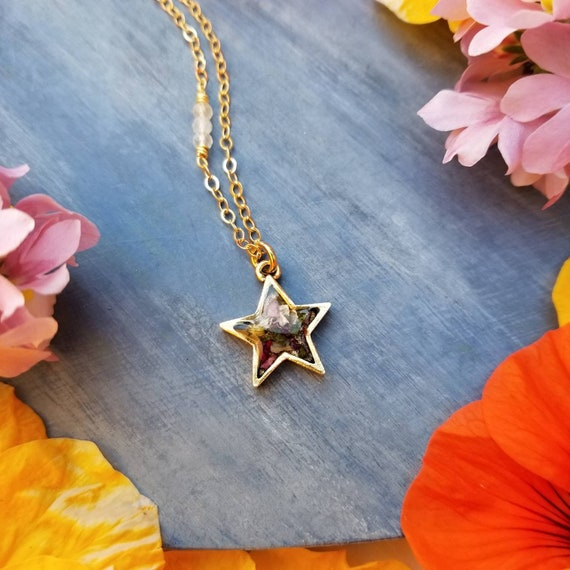 California Sage and Flower Star Necklace in Gold. Gemstones, Limited Edition Artisan Star Necklace
