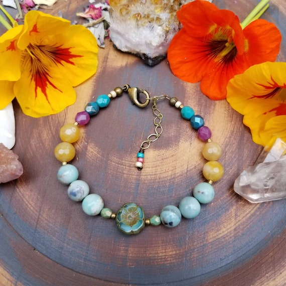 OOAK Mixed Gemstone and Glass Hibiscus Flower Bracelet. Blue Agate, Calcite, Brass, Rainbow Colors, Artisan Beaded Bracelet