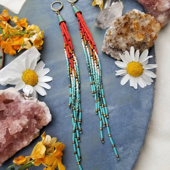 Santana Long Tassel Fringe Earrings. Red, Vermilion, Gold, Cream, Turquoise, Lightweight, LONG Seed Bead Earrings