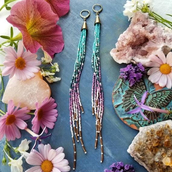 Swan River Long Tassel Fringe Earrings. Turquoise, Teal, Cream, Lilac, Lightweight, LONG Seed Bead Earrings
