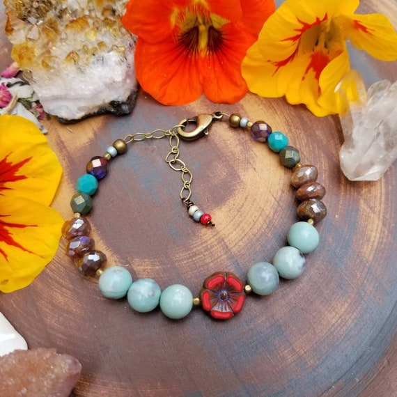 OOAK Mixed Gemstone and Glass Hibiscus Flower Bracelet. Blue Agate, Labradorite, Brass, Colorful, Artisan Beaded Bracelet