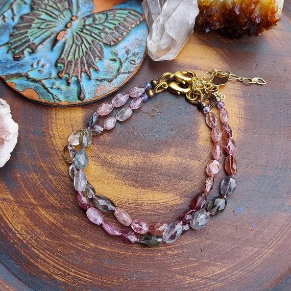 Knotted Spinel Gemstone Bracelet. Mystic Gems, Gold, Charm, Limited Edition Artisan Bracelet