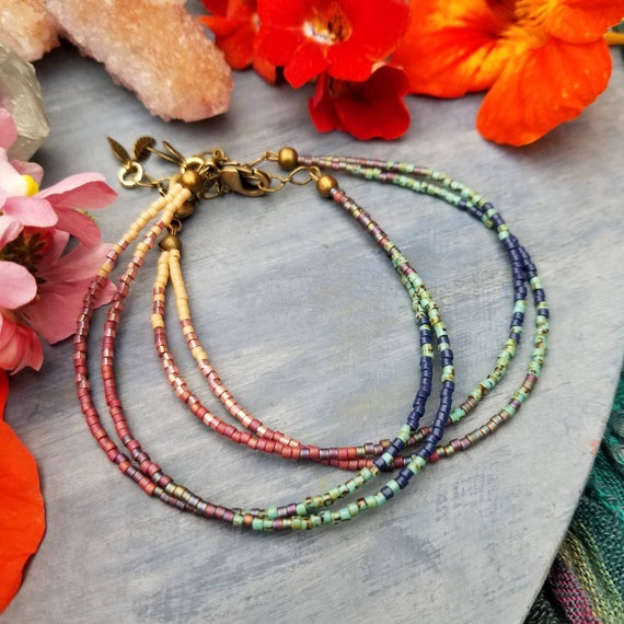 Dreamland Double Strand Boho Bracelet, Colorful, Delica Seed Beads, Brass, Limited Edition Stacking Bracelet