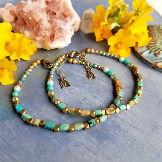 Turquoise and Brass Bracelet. Authentic Gemstones, Faceted Brass, Delicate Artisan Bracelet.