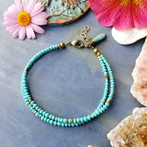 Turquoise and Brass Bracelet. Double Strand, Authentic Gemstones, Faceted Brass, Delicate Artisan Bracelet