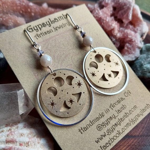 Sparkle Moon Phase Earrings. White Agate, Tanzanite, Silver, Brass, Limited Edition Artisan Earrings