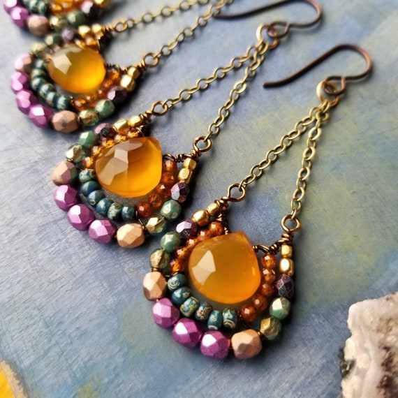 Honey Chalcedony Mirela Earrings. Luxe Gemstones, Hessonite, Blue, Purple, Brass, Wirewrapped Artisan Earrings