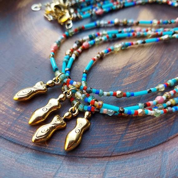 Golden Goddess Necklace. Miyuki Delicas, Gemstones, Beaded Gemstone and Glass Necklace