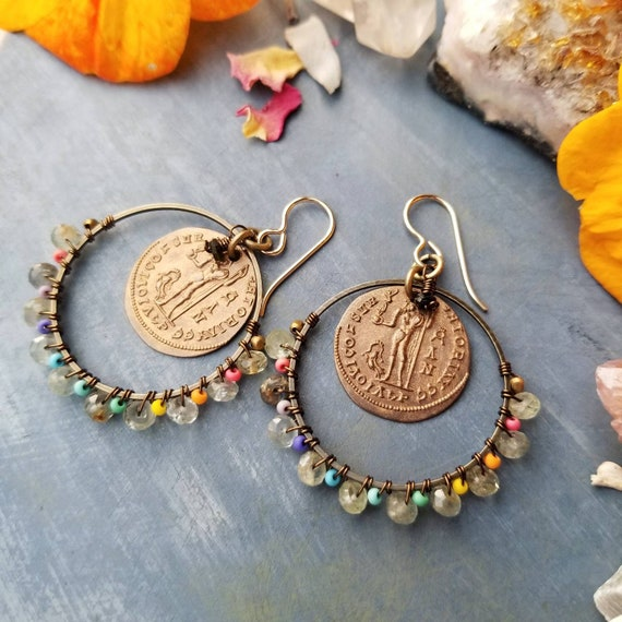 Ancient Coin Earrings. Aquamarine, Seed Beads, Brass, Gold, Lightweight, OOAK Artisan Earrings