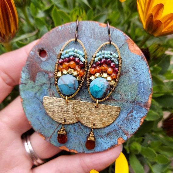 Chrysocolla, Carnelian and Garnet Earrings. Lightweight, Colorful, Brass. Artisan Gemstone Earrings