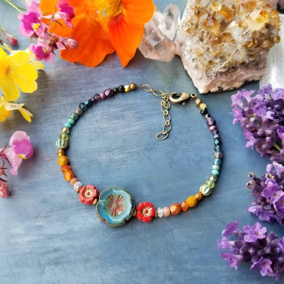 Mixed Gemstone and Glass Hibiscus Bracelet. Luxurious Gemstones, Czech Glass, Faceted Brass, Rainbow Colors, Delicate Artisan Bracelet.