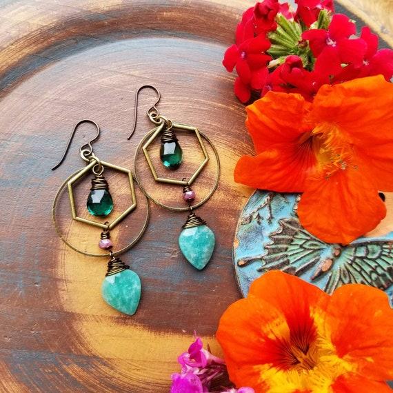 Amazonite and Indicolite Quartz Earrings. Deluxe Gemstones, Hoops, Brass, Lightweight, Boho Artisan Earrings