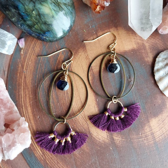 Purple Tassel and Iolite Kinetic Earrings. Deluxe Gemstones, Hoops, Brass, Gold, Lightweight, Boho Artisan Earrings