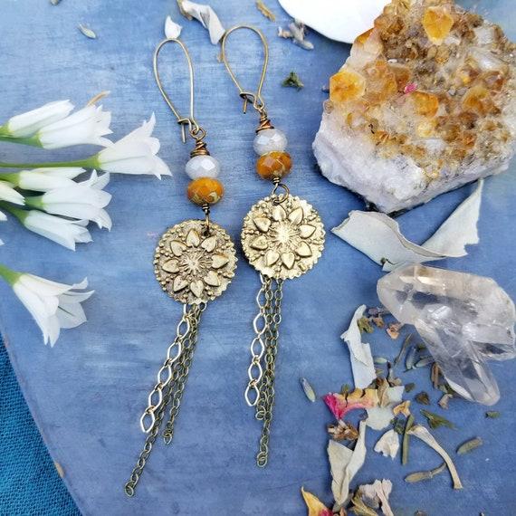 Sunflower Charm Earrings. Agate, Czech Glass, Brass, Gold, Long, Lightweight Artisan Earrings