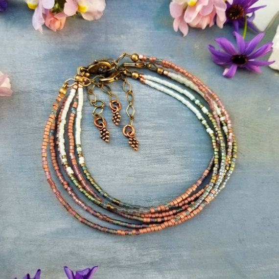 The Mucha Double Strand Boho Bracelet. Delica Seed Beads, Brass, Copper, Limited Edition Stacking Bracelet