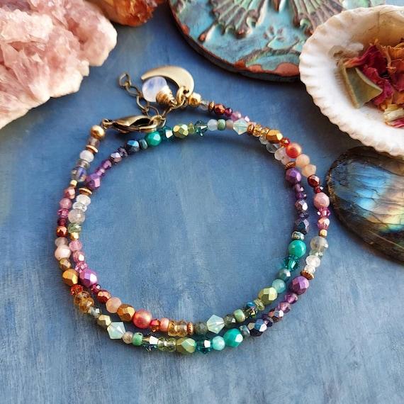 Rainbow Gemstone and Glass Wrap Bracelet. Moonstone, Labradorite, Garnet, Amethyst, Gold, Brass. Limited Edition Double Wrap Bracelet