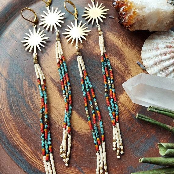 Flare Sunburst Fringe Earrings. Turquoise, Red, Orange, Gold, Brass, Lightweight, Artisan Seed Bead Earrings