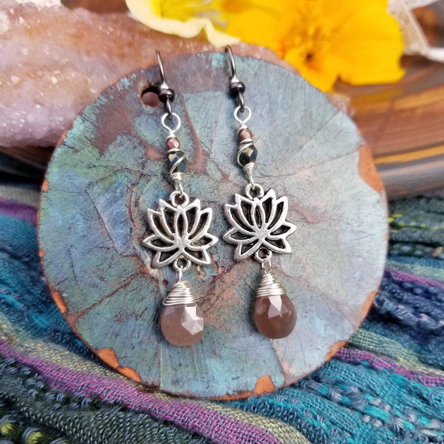 Lotus Flower Earrings Chocolate Moonstone Czech Glass Luxe
