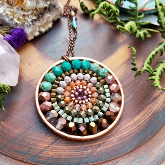 Bayside Sunset Beaded Mandala Necklace. Sunstone, Turquoise, Bronze, Copper, Artisan Beadwoven Necklace, OOAK