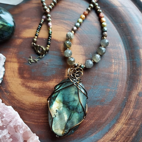 Labradorite Wirewrapped Necklace. Gorgeous and Flashy, Tourmaline, Czech Glass, Brass, OOAK Beaded Gemstone Necklace