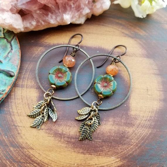 Green Hibiscus Leaf Fringe Earrings. Sunstone, Hoops, Bronze, Lightweight, Limited Edition Gemstone Earrings