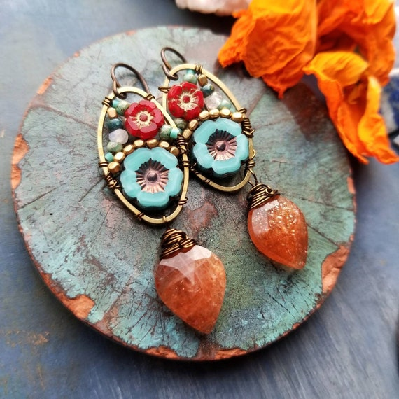 Sunstone Beaded Blooms Earrings. Lightweight, Czech Glass Beads, Colorful, Bronze. Limited Run Artisan Earrings