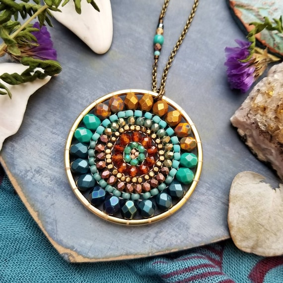Nebula Beaded Mandala Necklace. Garnet, Turquoise, Navy, Gold, Bronze, Artisan Beadwoven Necklace, OOAK