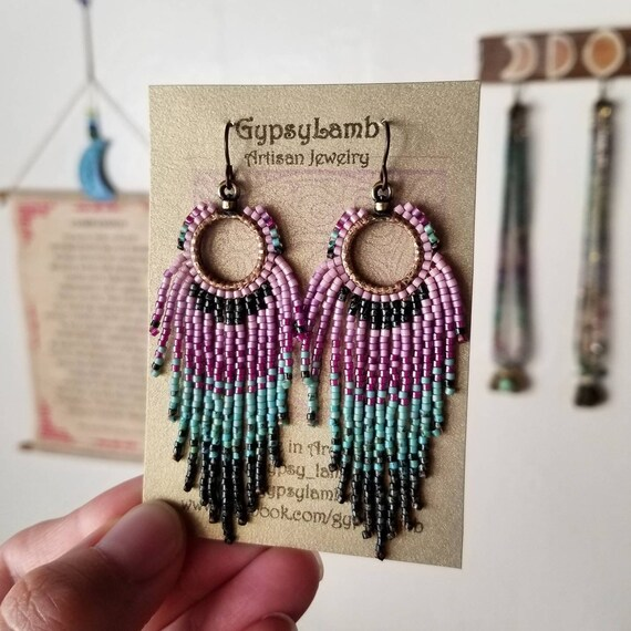 Little Bird Fringe Earrings. Rose Pink, Lilac, Turquoise, Black, Bronze, Lightweight, Limited Edition Seed Bead Earrings