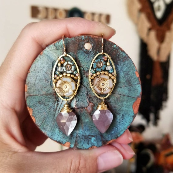 Chocolate Moonstone Beaded Blooms Earrings. Lightweight, Czech Glass Beads, Flowers, Gold, Artisan Gemstone Earrings