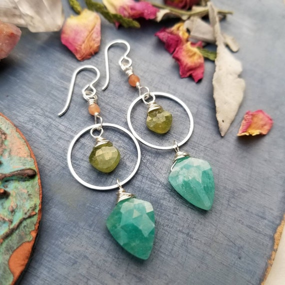 Triple Gemstone Drop Earrings. Amazonite, Vessuvianite, Peach Moonstone, Luxe, Silver, Artisan Gemstone Earrings