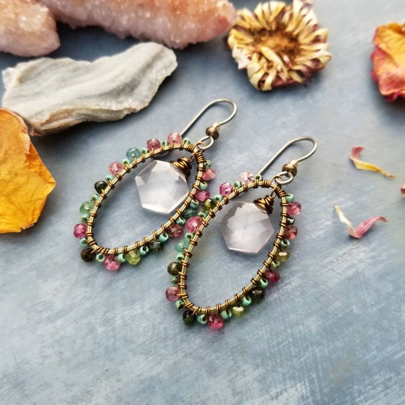 Watermelon Tourmaline and Rose Quartz Beaded Earrings. Oval, Deluxe Gems, Wirewrapped Artisan Earrings