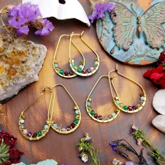 Wirewrapped Mixed Gemstone Earrings. Labradorite, Moonstone, Peridot, Garnet, Amethyst, 24k Gold, Birthstones, Beaded Gold Hoop Earrings