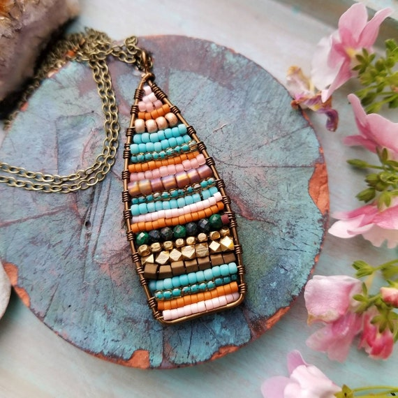 Beaded Tapestry Necklace. Chrysocolla, Turquoise, Peach, Delicas, Brass, One-of-a-kind Artisan Necklace