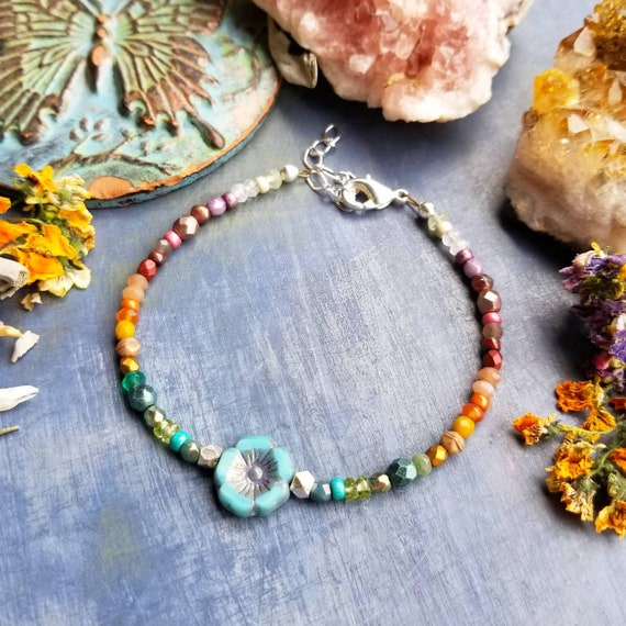 Mixed Gemstone and Glass Hibiscus Flower Bracelet. Luxurious Gemstones, Faceted Silver, Rainbow Colors, Delicate Artisan Bracelet.