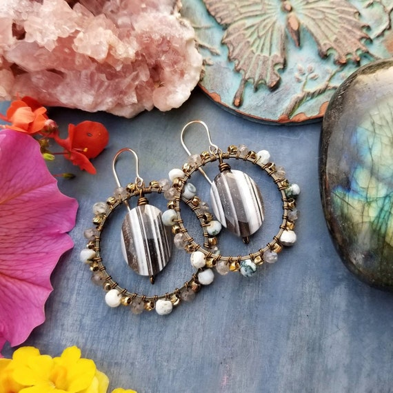 Deluxe Owyhee Opal and Labradorite Earrings. Oregon Gemstones, Earthy, Gold, Bronze, Limited Edition Boho Artisan Hoop Earrings