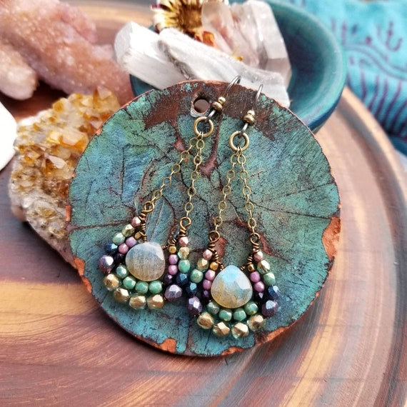 OOAK Labradorite Mirela Earrings. Luxury Gemstones, Lavender, Deep Blue, Aqua Green, Brass, Glass, Wirewrapped Artisan Earrings