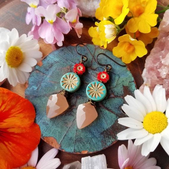Turquoise Daisy and Peach Moonstone Drop Earrings. Flowers, Luxe Gemstones, Brass, Artisan Wirewrapped Earrings