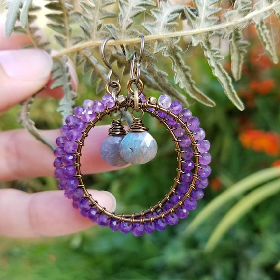 Deluxe Amethyst Earrings. Labradorite, Brass, Gorgeous Gemstones, Limited Edition Boho Artisan Hoop Earrings