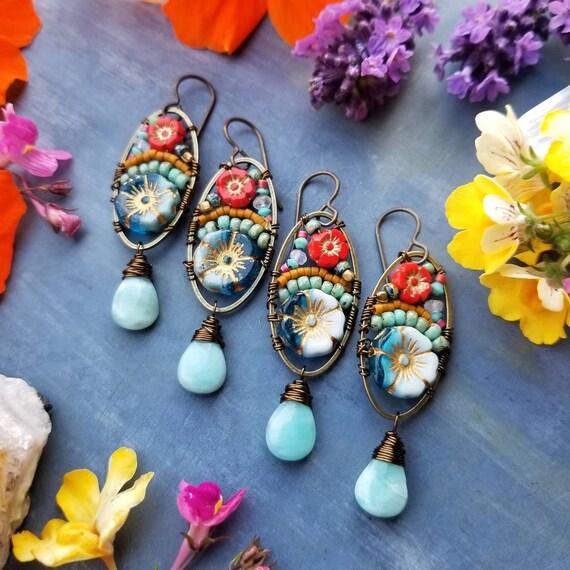 Larimar Beaded Blooms Earrings. Lightweight, Czech Glass Beads, Flowers, Colorful, Brass, Limited Edition Artisan Earrings