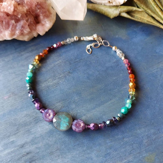 Labradorite and Purple Flowers Bracelet. Luxurious Gemstones, Czech Glass, Silver, Rainbow Colors, Delicate Artisan Bracelet